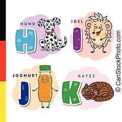 Deutsch alphabet. Dog, hedgehog, yogurt, cat. Vector letters...