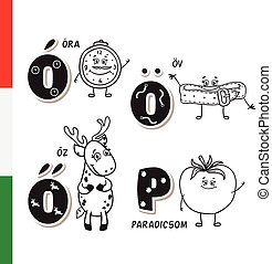 Hungarian alphabet. Alarm, Belt, Roe, Tomato. Vector letters...