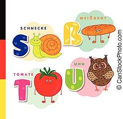 Deutsch alphabet. Snail, white bread, tomato, owl. Vector...