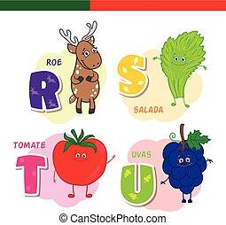 portugais, chevreuil, lettres, salade verte, characters.,...