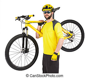 young cyclist with yellow mountainbike - young cyclist with...