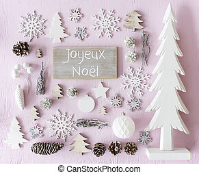 Decoration, Flat Lay, Joyeux Noel Means Merry Christmas -...