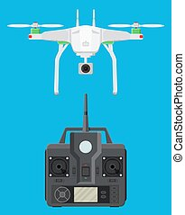 Remote controlled aerial drone. Quadcopter drone with camera...