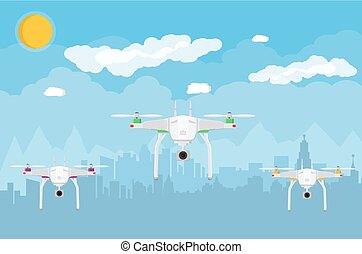 Remote controlled aerial drone in sky. Quadcopter drone with...