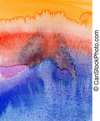 Flowing water colors on paper