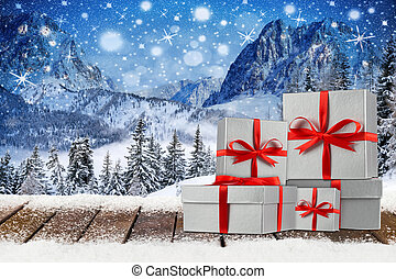 christmas xmas background with red silver gift boxes -...