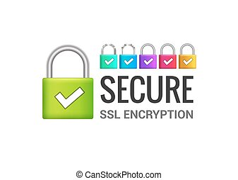Secure internet connection SSL icon. Isolated secured lock...