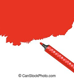 Red marker pen spot isolated on a white background. Scribble...
