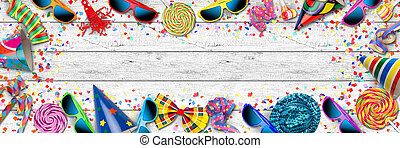 colorful wide panorama party carnival birthday celebration...