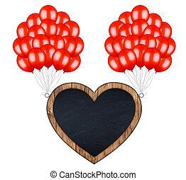 coração amoldou, voando, carregar, billboard, redl, balões,...