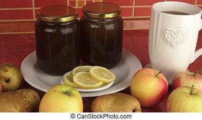 Healthy breakfast. Honey and fruit. Healthy food, diet,...