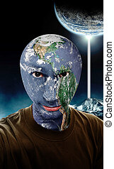 Alien World - A young man with a the earth as his head.