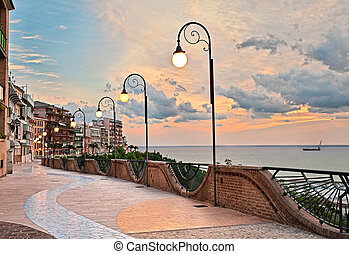 Ortona, Abruzzo, Italy: seafront at dawn, beautiful terrace...