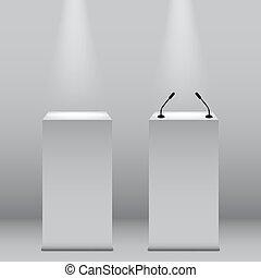 Vector podium tribunes isolated on grey background. - Podium...