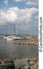 At the Dock - sailboats at dock in Yorktown, Va