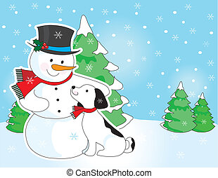 Snowman and Dog Scene - A snowman is patting on dog on the...