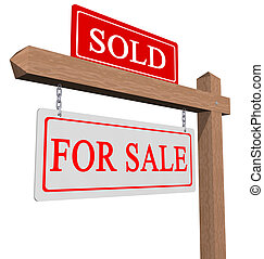 For sale and sold sign - Real estate type for sale / sold...