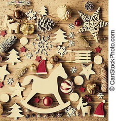 Christmas Flat Lay With Decoration, Aged Background, Rocking...