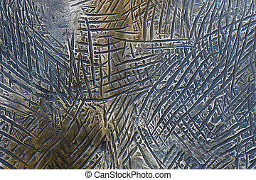 Background of colored copper metal with large scratches
