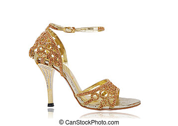 bridal shoes - this is a beautiful golden high heel bridal...