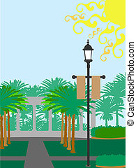 Palm Tree courtyard lamp post sunny - Large sunny day...