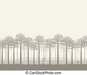 Green trees with leaves - Vector illustration of trees....