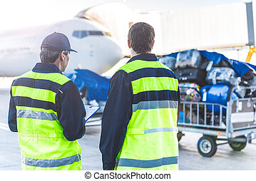 Workers controlling luggage in airdrome - Two male technical...