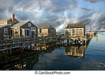 Group of Homes over the Water in Nantucket, USA - Group of...