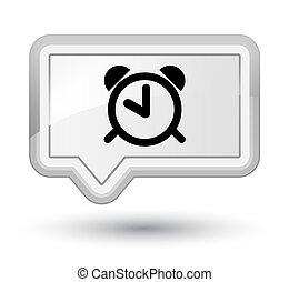 Alarm clock icon prime white banner button - Alarm clock...