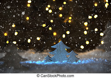 Wooden Christmas Tree, Snowflakes, Lights, Snow - Wooden...
