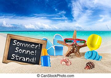 blackboard sommer sonne strand on beach - blackboard with...