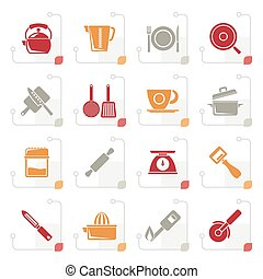 Stylized kitchen gadgets and equipment icons - vector icon...