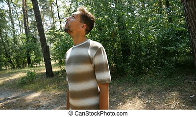 A young man, birdwatcher, looks at pine trees in a summer...