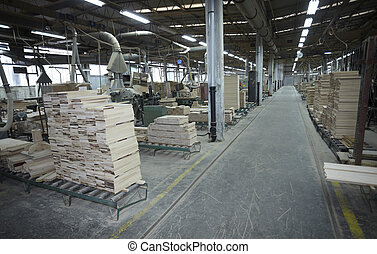 sawmill wood industry - interior of a sawmill and wood stack