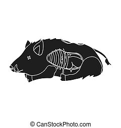 Boar single icon in black style.Boar, vector symbol stock...