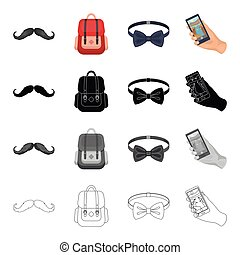 Hipster mustache, stylish backpack, bow tie, mobile phone in...