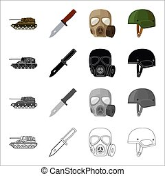 Self-propelled gun, combat knife, military gas mask, army...