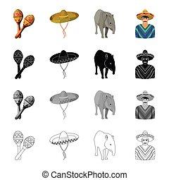 Maracas, sombrero, tapir, Mexican. Country Mexico set...