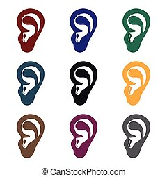 Ear icon in black style isolated on white background. Part...
