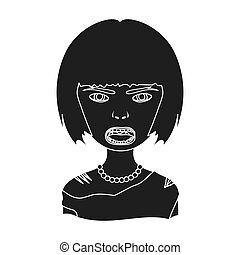 Woman, single icon in black style.Woman, vector symbol stock...