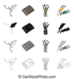 A poster pen, an artist's graphic tablet, paint brushes, artistic paint. Artist and drawing set collection icons in cartoon black monochrome outline style vector symbol stock illustration web.