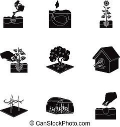 Company, vegetable garden and other web icon in black style...