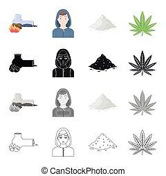 Smoking tube addict, cocaine, the face of a drug addict, a...