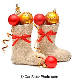 regalos, niños, Lleno, botas