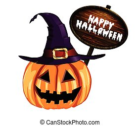 Scary Jack O Lantern halloween pumpkin with witch hat with...