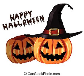 Scary Jack O Lantern halloween pumpkins with witch hat...