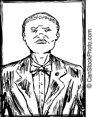 Outlined Sketch of Nation of Islam Member - Outlined sketch...