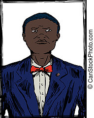 Sketch of Male Nation of Islam Member - Illustration sketch...