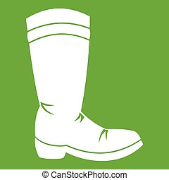 Cowboy boot icon green - Cowboy boot icon white isolated on...