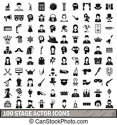 100 stage actor icons set, simple style - 100 stage actor...